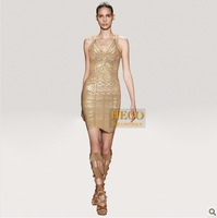 Free shippng fashion ladies dress Bqueen Fashion luxury bronzing bandage dress sexy suspender dress gold Tuxedo Dress H333