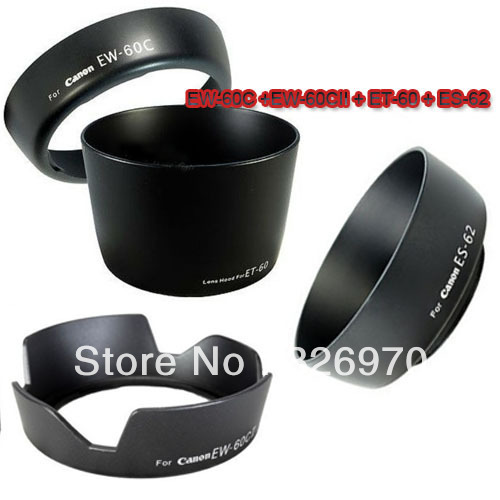 10 pcs 4 in1 EW-60C +EW-60CII + ET-60 + ES-62 Lens Hood Set for CANON EOS 550D 600D 650D 1100D EF 18-55mm 55-250mm 50mm f1.8 II(China (Mainland))
