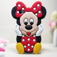 Free Shipping Lovely Cute 3D Mickey Minnie Mouse Silicon Cartoon Back Case Cover Shell For iPhone 5 5G 5th