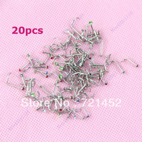 J35 Free Shipping 20pcs lot Mix Colors Rhinestone Nose Studs Screw Ring Bone Bar Pin Piercing