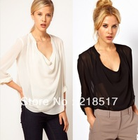 Free Shipping 2014 New Spring Summer women's Half round neck cross deep V long sleeve solid color chiffon blouse D-439