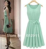 2014 spring Hot sale Womens Lady Elegant Long maxi Mint Green Sleeveless Pleated Chiffon Vest Dress With Lining
