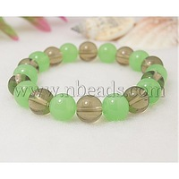 Closeout Fashion Glass Bracelets,  with Elastic Thread,  Green,  55mm