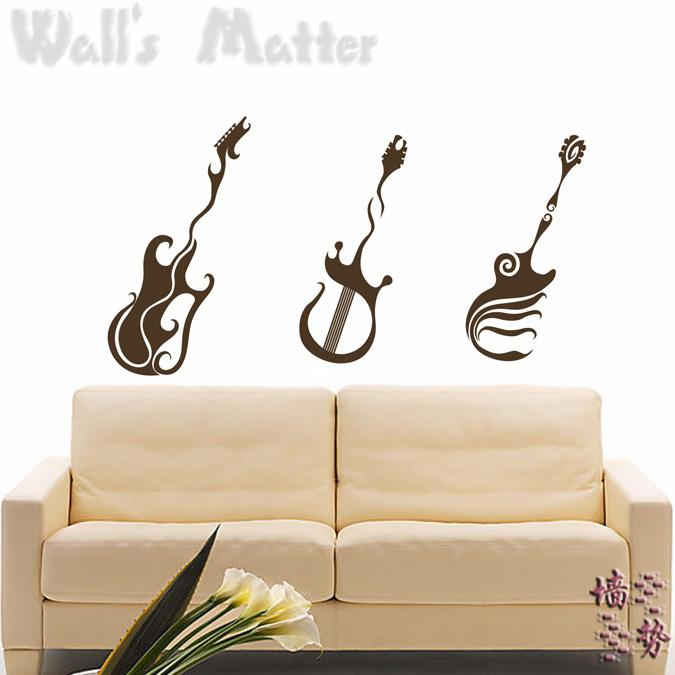 bass guitar wall stickers decoration decor home decal fashion cute waterproof bedroom living sofa family house glass cabinet(China (Mainland))