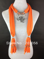 Scarf jewelry Owl Pendant necklace Fashion womens Soft scarves Jewellery Mix color 20pcs/lot #2892