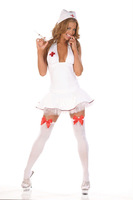 Hot Selling White Nurse Costume Lingerie Nightclubs Performance clothing Underwear Exotic Apparel(cap+dress+T/G-string) 2280