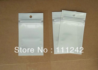 500pcs/lot ZipLock White Clear Plastic Packaging Retail Hanging Bags 9.5X6.8CM for phone cover ,Card reader,Dustproof plug