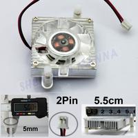 55mm 2 Pin Cooling Fan Heatsink Cooler for PC Computer Laptop CPU VGA Video Card 2PCS/LOT FREE SHIPPING FS004