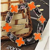 Closeout Fashion Bracelets,  with Column Lampwork Beads,  Flower Acrylic Beads and Elastic Crystal Thread,  Black