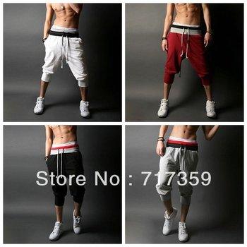 1pc Free Shipping Men's Casual Banding Sport Pants Men Hiphop Street Dancer Harem Pants Beach Pants Loose Trousers 4Color 651357