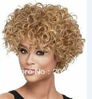 2013 New Curly Short Hairstyle Light auburn with blonde highlights and tips Pretty color Hair Wig 10pcs/lot mix order