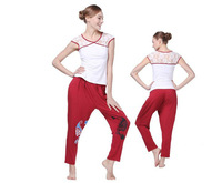 Hot! Free Shipping! 2013 Dmasun Cotton Lace Nice Quality Yoga New Jersey Shore Yoga Jersey Yoga Pants White And Red Outdoor