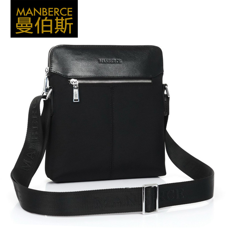 Male canvas bag messenger bag casual backpack oxford fabric cowhide(China (Mainland))