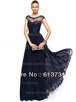 New Elegant Scoop Neckline Floor Length Beading Chiffon Navy Blue Women Evening Dress Formal Gowns BO3604