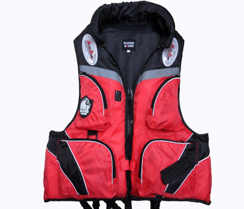 Fishing vest multifunctional life vest life jacket red whisted belt
