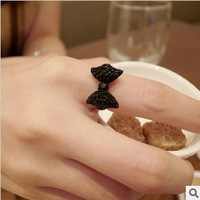 R067  New Pattern Fashion Black Bowknot Ring ! Vintage Jewelry Wholesales!!  Free Shipping!