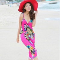 F04648 Summer Bohemia Pareo Dress Sarong Bikini Cover-Ups Scarf Swimwear Beach skirt With shoulder straps + FreeShip