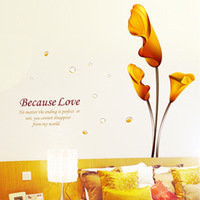 Large Removable PVC  gold calla lily flower wall stickers sofa tv wall decoration,free shipping