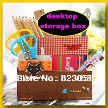 Factory price Japan&Korea style Cartoon Retro Folding Combined type Desktop storage box Cosmetic Storage Box Free shipping