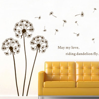Dandelion decoration Porch Sofa and TV Background Wall Stick ,Free Shipping