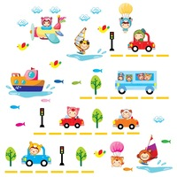 Car Children Room Home Removable Wall Decal for Girl and Boy Room many cars transport knowledge for kid wall sticker