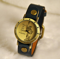 Min Order $20 (mixed order) Statue of liberty fashion table strap quartz watch vintage watch rivet strap table  (RK)
