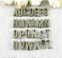 11*5*4MM Retro perforation letter accessories ZAKKA DIY jewelry wholesale alphabet initial slide charm