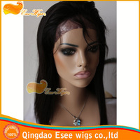 esee wigs100% human hair straight brazilian virgin hair 16inch Pu-around natural color full lace wig 120%density