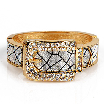 2013 New Spring Jewelry Europe Statement Punk Gold Plated Buckle Bangle Bracelet Custom Rhinestone Leoaprd Bracelets 54g