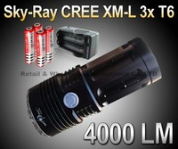 Sky-Ray King Flashlight 3 Mode 4000 Lumens 3xCREE XM-L XML T6 LED Flashlight Black +4* 18650 Battery 3000mah+1*AC charger