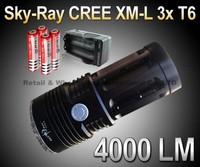 Sky-Ray King Flashlight 3 Mode 4000 Lumens 3xCREE XM-L XML T6 LED Flashlight Black +4* 18650 Battery 3000mah+1*AC charger