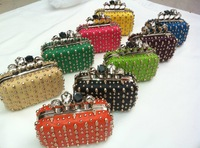 2013 NEW AMAZING!! Ladies' skull clutch knuckle rings evening bags ,Clutch bags with skull, punk evening bags,free shipping17