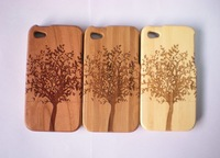Beautiful tree Natural Wood bamboo shell handmade Wooden Case Cover for iphone4 4s with Retail package