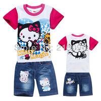 2013 Girls Clothing Sets HELLO KITTY Kids Babys sport suit summer short set T-shirt + pants 2pcs children's clothing 6set/lot