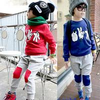 2012 children's autumn clothing male female child quality fashion stone scissors cloth long-sleeve set sweatshirt