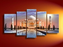 Hand painted oil painting on canvas  brief decorative frameless mural landscape Taj Mahal(China (Mainland))