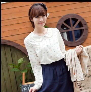 2013 cute &amp; sweety neck solid color chiffon t-shirt women&#39;s shirt with lace Heart print women&#39;s blouse girl&#39;s topfree shipping(China (Mainland))