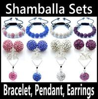 Shamballa Jewelry Set Matching Bracelet Pendant Earrings 11 Czech Crystal Beads