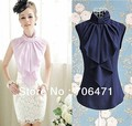 S-L free shipping new fashion Women's Bow sleeveless shirt 3 colors optional moq 1pc