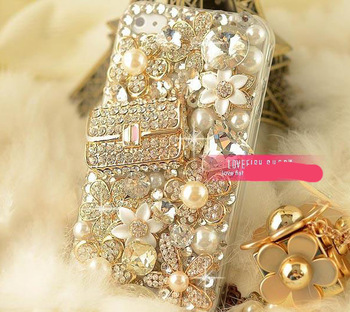 luxury gems bling crystal rhinestones case for Samsung Galaxy Note 2 N7100 or N7000 or 3 protective hard cover [JCZL DIY Shop]