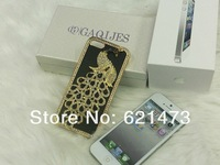 Luxurious Rhinestone Diamond Phoenix Shiny Frame Crystal for iphone 4 hot peacock Leather case for iphone 4G 4S