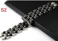 fashion men stainless steel bracelet chain black silicone wide style bracelet top quality free shipping