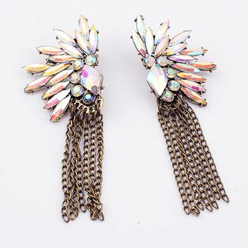 New arrival fashion shine flower shape earrings vintage tassel earrings
