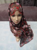 Light Paillette Embroidery 170cm x70cm Bandanas Muslim Women hijab Hat Long Scarf Head Scarf  Headband