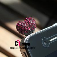 Full rhinestone heart for iphone 4s dust plug diamond earphones dust plug 4