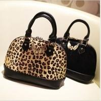 Free shipping new arrival 2012 fashion luxurious fur leopard print horsehair bag skull alma handbag female hanbags