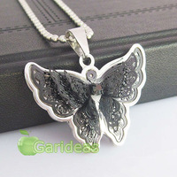 Free shipping +Wholesale  Fashion Black Stainless Steel  Butterfly Charm Pendant Necklace New Gift Item ID:3127