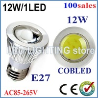 FREE SHIPPING 100pcs/lot 9W 12W E27 COB LED Spot Light Spotlight Bulb Lamp High power lamp 85-265V Warranty 3 years CE ROHS