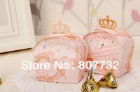 Hight Quality Crown Candy Box / Chocolate Box, Light Pink & Light Green, 8*6.5*5cm, 100pcs/pack