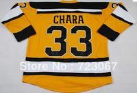 Free shipping ice hockey #33 ZDENO CHARA 33  yellow away road  color cheap Jersey jerseys hot sale gift  zongxiong